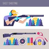 Shooting Skeet.  Set of design elements. Vector illustration. Shooting Skeet.  Set of design elements. Accessories for Skeet shooting. Sportsman Skeet shooter Stock Photo