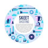 Shooting Skeet. Set of  elements located in a circle. With. Place for text Stock Photo