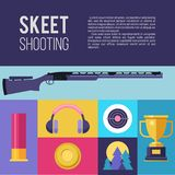 Shooting Skeet. Vector illustration. Set of colored  desig. N elements Royalty Free Stock Photo