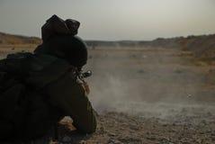 Shooting soldier. Israeli soldier in shooting practice Stock Images