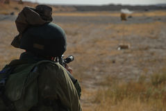 Shooting soldier. Israeli soldier in shooting practice Royalty Free Stock Photography