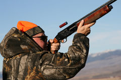 Shooting Sporting Clays. Man shooting sporting clays in the winter in Pinedale, Wyoming Stock Photos