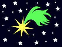 Stylized Shooting star in a starry night. A personal vision of a shooting star usable in Christmas time Royalty Free Stock Photo