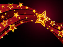 Shooting star. Decorative shooting star background with smaller stars surrounding royalty free illustration