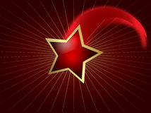 Shooting star. A shooting star with gold border and with a red glow Stock Image