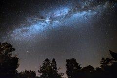 Shooting star across milky way. Starry sky above tree silhouettes stock photo