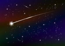 Shooting star background against dark blue starry night sky, vector illustration. Space background. Colorful galaxy with nebula and stars. Abstract futuristic royalty free illustration