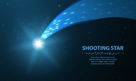 Shooting star. Falling comet with glow on dark blue background with dots and stars. royalty free illustration