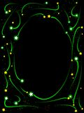 Shooting star frame. Oval frame composed of shooting stars and sparks Royalty Free Stock Photography