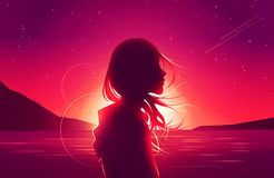 Silhouette sad girl loneliness in twilight shooting star art illustration wallpaper for desktop. Sad girl loneliness in twilight shooting star beach dream sunset stock illustration