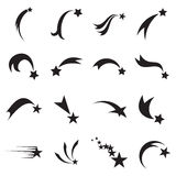 Shooting star icons. Falling star icons. Comet icons Stock Image