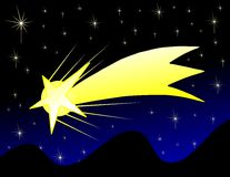 Stylized Shooting star in a starry sky Royalty Free Stock Photography