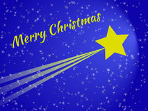 Shooting star at night christmas card. With blue sky Stock Image