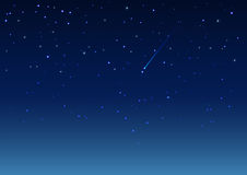 Shooting star in night sky. Vector background illustration Stock Photo
