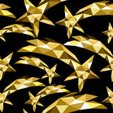 Shooting star seamless pattern gold low poly xmas Royalty Free Stock Images