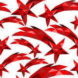 Shooting star seamless pattern red low poly xmas Royalty Free Stock Photos