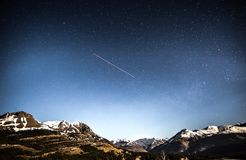 Shooting Star in Sky Above Canyos Royalty Free Stock Images