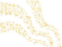 Shooting star trails. Cosmic abstract vector background with gol. D star and circle confetti elements. Decorative curve pattern on white with yellow shooting Stock Photography