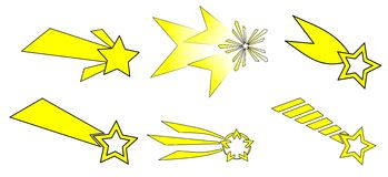 Shooting stars. Illustration that represents some examples of shooting stars, a christmas symbol Royalty Free Stock Photography