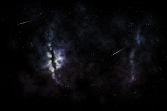 Shooting stars and galaxy in space or night sky. Space, skyscape and astronomy - shooting stars and galaxy in night sky illustration royalty free stock photography