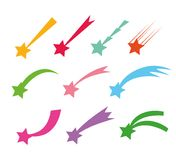 Shooting stars icons. Vector falling star silhouettes or comets isolated on white background. Color star with tail vector illustration