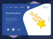Shooting stars Landing page website template design. Quality One Page shooting stars Website Template Vector Eps, Modern Web Design with flat UI elements and Royalty Free Stock Photo