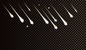 Shooting stars, light of falling of a meteorite in the galaxy. stock photography