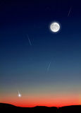 Shooting Stars in Night Sky. Sunset sky and full moon with simulated stars and shooting stars royalty free stock image