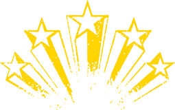 Shooting stars vector. Yellow art