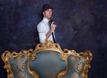 Shooting in studio. Detective story. Man in hat . Agent 007. Stock Photos