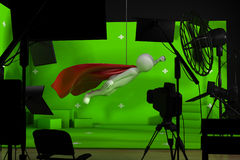 Shooting in studio with a green background Stock Images
