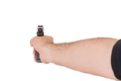 Shooting Style with Gun from Behind of an Arm Royalty Free Stock Images