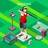Shooting Summer Games Isometric 3D Vector Illustration Stock Image