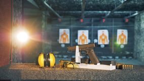 Shooting supplies prepared for practice in firing range