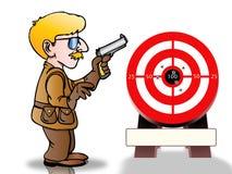 Shooting target. Man holding a gun already shoot a shooting target Royalty Free Stock Photos