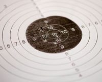 Shooting target with bullet holes Stock Images