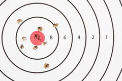 Shooting Target Bullet Holes. Close up of a shooting target with a red bullseye and bullet or pellet holes in the center ring Stock Photography