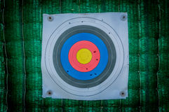 Shooting target and bullseye with bullet holes Royalty Free Stock Photos