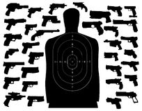 Shooting target and guns Royalty Free Stock Photography