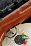 Shooting time. Air gun riffle with target and bullets Royalty Free Stock Images