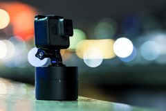 Shooting timelapse on action camera in London. UK Royalty Free Stock Images