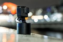 Shooting timelapse on action camera in London stock photo