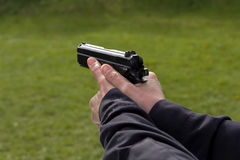Shooting. Training of police shooting at a shooting range Stock Image