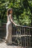 Shooting in villa ada model evening dress Royalty Free Stock Image