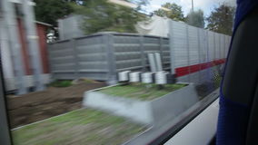 Shooting from the window of a moving train. stock video footage