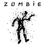 Shooting a zombie from a machine gun. Vector illustration. Stock Photo