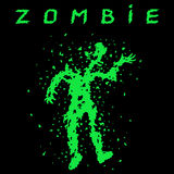 Shooting a zombie from a machine gun. Vector illustration. Stock Photos