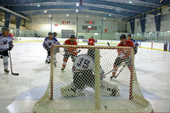 He shoots!  He scores! Royalty Free Stock Photography