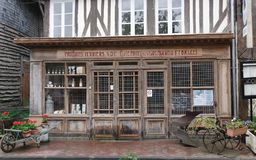 Shop. French Normandy shop forecourt window royalty free stock image