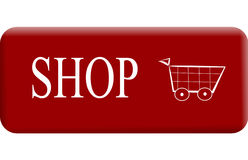 Shop. Button with basket in red Royalty Free Stock Images